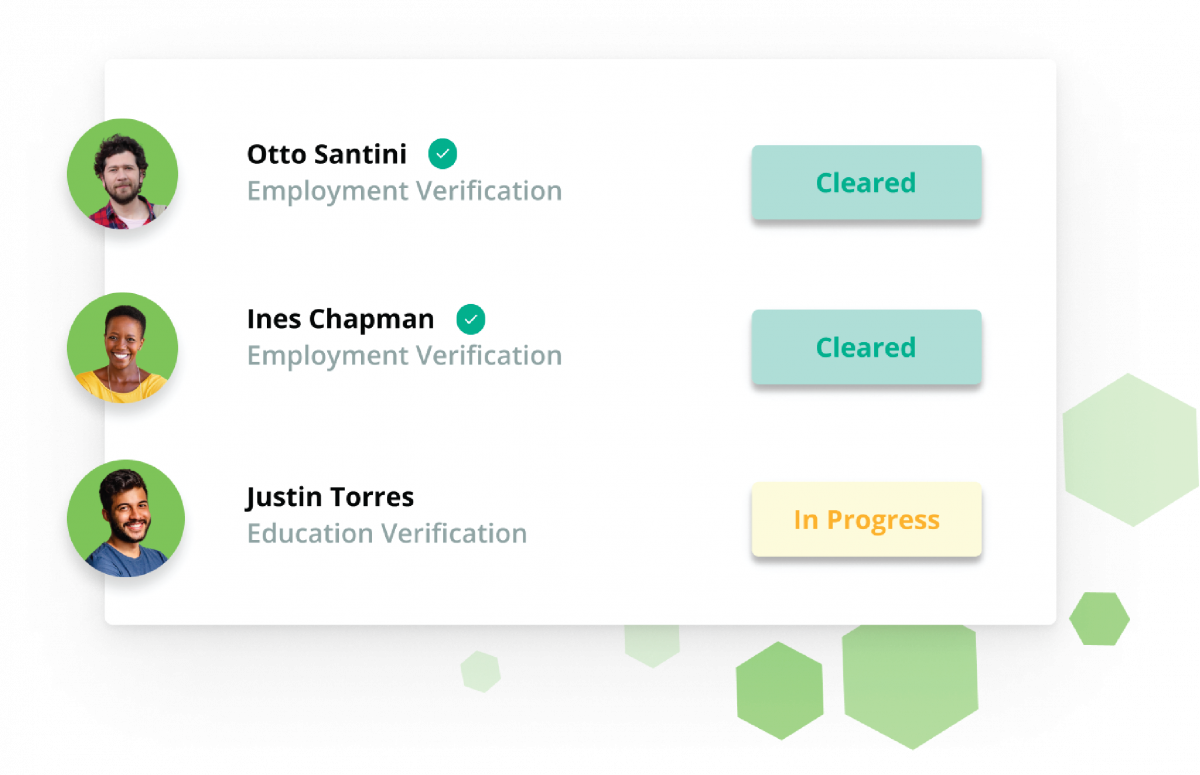 Employment and education verification dashboard illustration